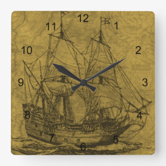 Schooner And Vintage Map Square Wall Clock