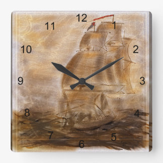 Schooner And Vintage Map Square Wall Clocks