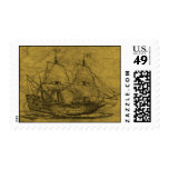 Schooner And Vintage Map Stamps