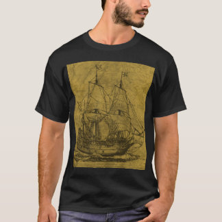 Schooner And Vintage Map T-Shirt