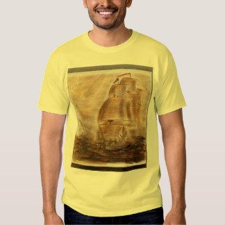 Schooner And Vintage Map T Shirt