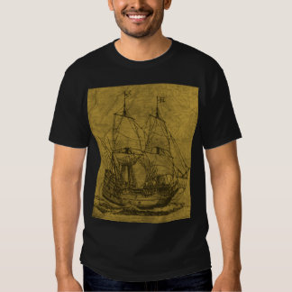 Schooner And Vintage Map Tee Shirt