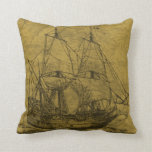 Schooner And Vintage Map Throw Pillows