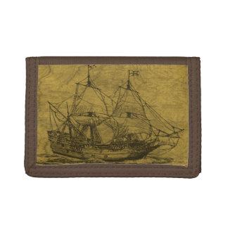 Schooner And Vintage Map Trifold Wallet