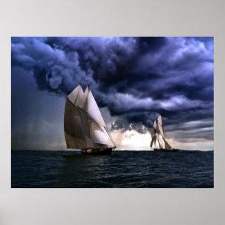 Schooner Bluenose before storm Poster