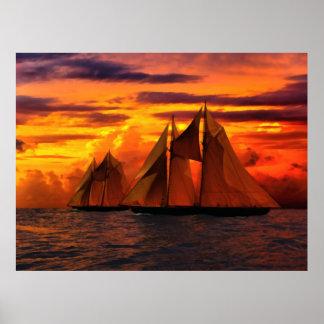 Schooner Bluenose en la puesta del sol II Póster