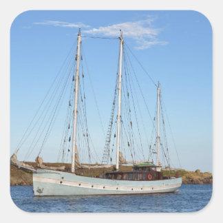 Schooner en las islas de Scilly Pegatina Cuadrada