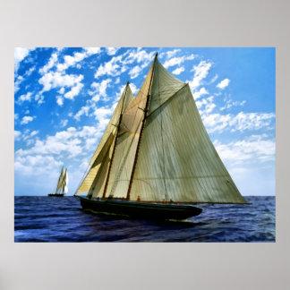 schooner en tiempo agradable póster