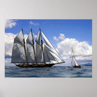 schooner in fair weather print