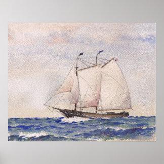 Schooner Leaving Nantucket Poster