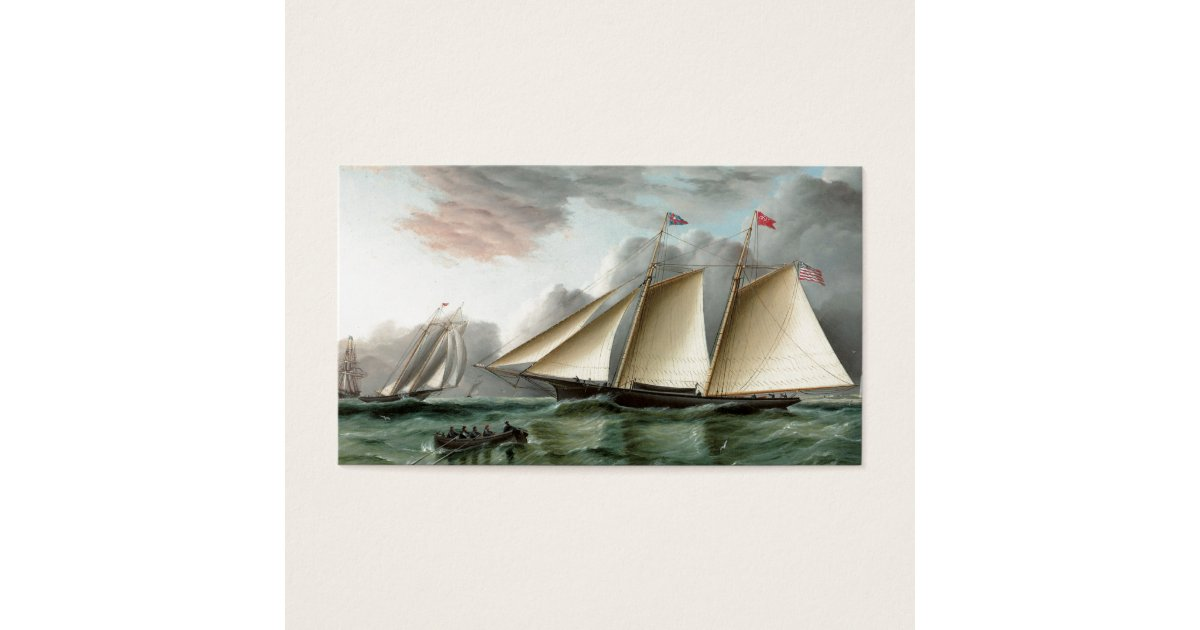 Schooner Mohawk off Sandy Hook Lighthouse Business Card | Zazzle.com