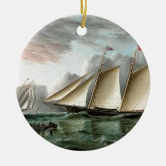 Schooner Mohawk off Sandy Hook Lighthouse Double-Sided Ceramic Round Christmas Ornament