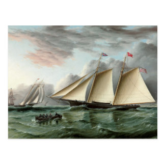 Schooner Mohawk off Sandy Hook Lighthouse Postcard