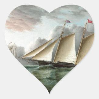 Schooner Mohawk off Sandy Hook Lighthouse Heart Sticker