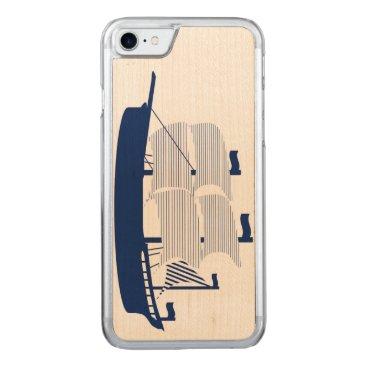 Beach Themed Schooner Navy Carved iPhone 7 Case