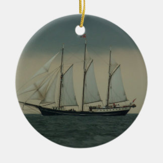 Schooner off the Dutch coast Double-Sided Ceramic Round Christmas Ornament
