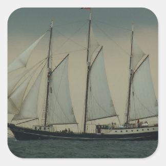 Schooner off the Dutch coast Square Sticker