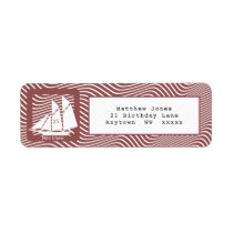 Schooner on Red Quirky Waves Nautical Party Theme Label