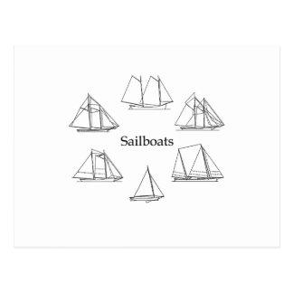 Schooner Sailboats Logo Postcard