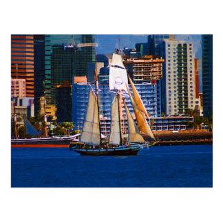Schooner, San Diego Harbor, CA Postcard