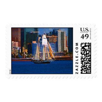 Schooner, San Diego Harbor Postage Stamp