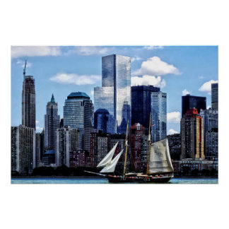 Schooner Seen From Liberty State Park Poster