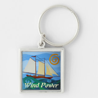 Schooner, Wind Power Silver-Colored Square Keychain