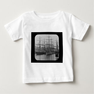 Schooners in Port Magic Lantern Slide B&W Baby T-Shirt