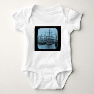 Schooners in Port Magic Lantern Slide Cyan Baby Bodysuit