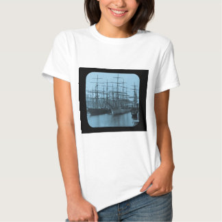 Schooners in Port Magic Lantern Slide Cyan Tshirts