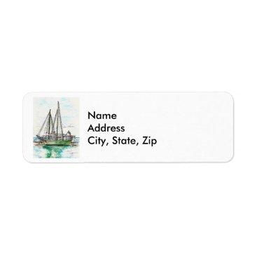 Beach Themed Schooners Label