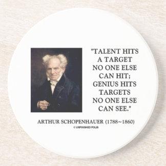 Schopenhauer Talent Genius Hits Targets No One See Sandstone Coaster