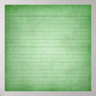 SCHPPR GREEN SCHOOL LINED PAPER EDUCATION BACKGROU POSTER