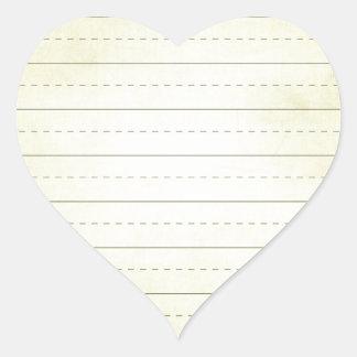SCHPPR light YELLOW SCHOOL LINED PAPER EDUCATION B Heart Sticker