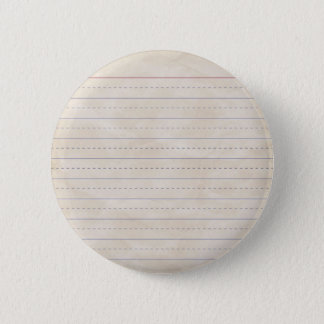 SCHPPR WRINKLED WHITE RULED SCHOOL LINED PAPER EDU PINBACK BUTTON