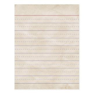 SCHPPR WRINKLED WHITE RULED SCHOOL LINED PAPER EDU POSTCARD