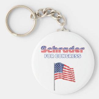 Schrader for Congress Patriotic American Flag Basic Round Button Keychain