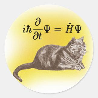 Schrodinger cat classic round sticker