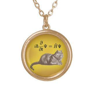 Schrodinger cat gold plated necklace
