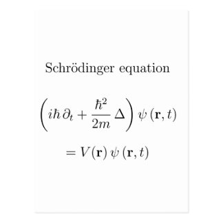 Schrodinger equation with name post cards