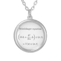 Schrodinger equation with name silver plated necklace