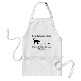 Schrödinger's Cat Played With String Theory Adult Apron