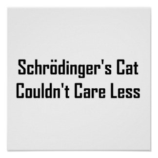 Schrodinger's Cat Couldn't Care Less Poster