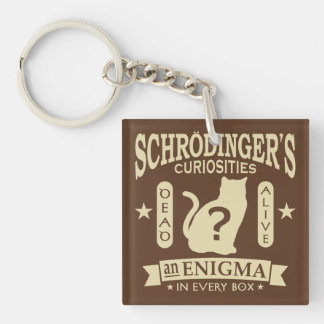 Schrodinger's Cat Dead or Alive Quantum Mechanics Double-Sided Square Acrylic Keychain