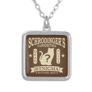 Schrodinger's Cat Dead or Alive Quantum Mechanics Silver Plated Necklace