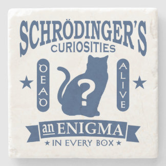 Schrodinger's Cat Dead or Alive Quantum Mechanics Stone Coaster