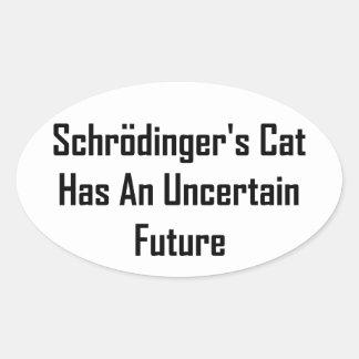 Schrodinger's Cat Has An Uncertain Future Oval Sticker