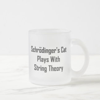 Schrodinger's Cat Plays With String Theory Frosted Glass Coffee Mug