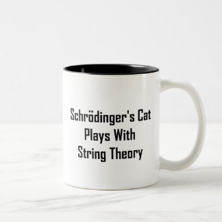 Schrodinger's Cat Plays With String Theory Two-Tone Coffee Mug
