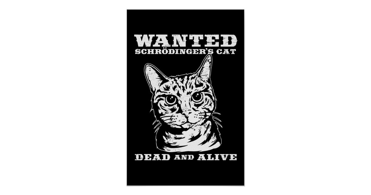 Schrodinger's cat wanted dead or alive poster | Zazzle